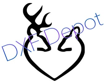 Deer Heart - Browning - DXF - Vector Art - Clip Art - Png - AI - Jpeg - Pdf  - Cricut - Laser Cutting Files