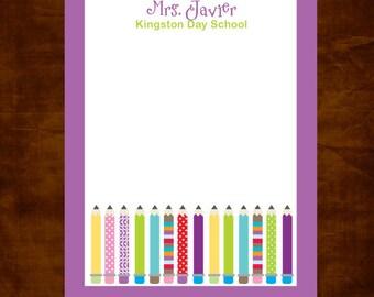 Personalized Teacher Notepad, Teacher Appreciation Gift, Teacher Gift Giving, Daycare Teacher, Personalized Teacher Gift, Pencil Notepad