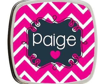 Personalized Compact Mirror, Personal Mirror, Teacher Gift, Bridesmaid Gift, Stocking Stuffer, Pink Chevron, Makeup Mirror, Monogram Mirror