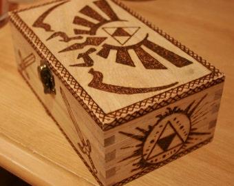 Zelda Triforce woodburned box
