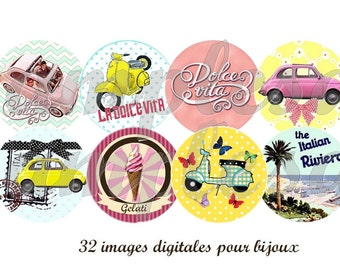 Digital collage sheet Dolce Vita, italy, sixties, scooter, vintage - 1 inch circle , bottle cap, printable collage instant download.