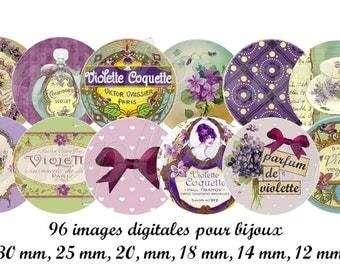 Digital bottle cap digital collage sheet Flowers  violet 1 inch circle design for pendant, digital round instant download circle