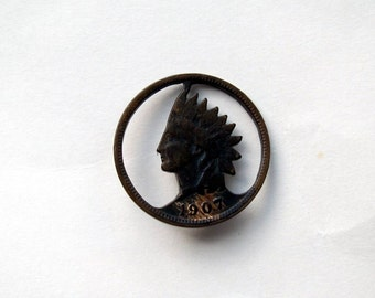 Indian Head Penny Cut-Out Tie Tac - Lapel Pin