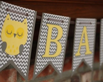 Owl Baby Banner Gender Neutral Gray and Yellow Chevron for Baby Shower / New Baby Banner Yellow Owl Banner