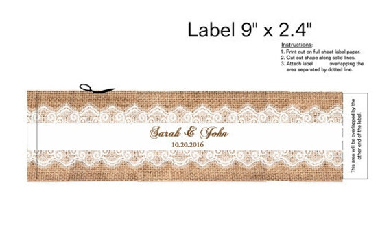 water bottle labels lace diy printable rustic burlap and lace
