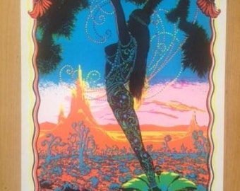 Desert Blossom Black Light 1970's poster