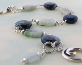 Blue Jasper with Amazonite in sterling silver, bracelet. 8 1/2 inches