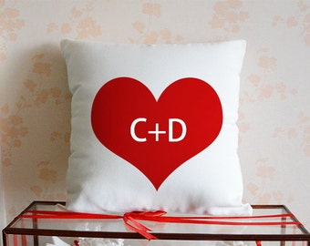 Heart Pillow Case,Customized Monogram Pillow,Couples Initial Cushion Cover,Decorative Pillow,1st Anniversary Gift,Bridal Shower Gift, Hearts