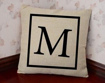 Monogram Pillow Cover - Initial Letter Pillow Cover - Personalized Pillows - Monogrammed Pillow - Burlap Decorative Pillow - Graduation Gift