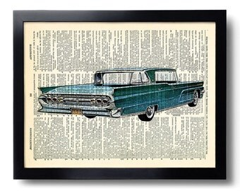 Vintage Car Art Print Vintage Book Print Recycled Vintage Dictionary Page Collage Repurposed Book Upcycled Dictionary 008