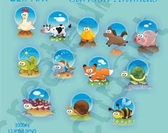 Cartoon animals Clipart Elements Set / 12 PNG/JPG/ For Personal and Commercial use/ Clip Art/ Instant Download