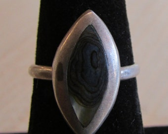 Abalone Shell Sterling Silver Mexican Ring Eagle 3 ACA