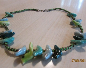 """Ceramic Birds,Green and Brass Bead Necklace  17"""""""