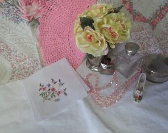 Delicate Cotton Machine Embroidered Floral Handkerchief hankie