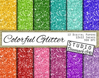 Colorful Glitter Digital Paper - Bright Colors Chunky Glitter - 12 Colors 12in x 12in - Instant Download Bright Glitter Digital Paper