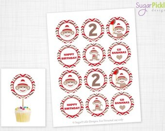 Sock Monkey Cupcake Toppers, 2nd Birthday, Sock Monkey Birthday Toppers, Sock Monkey Toppers, Sock Monkey Party Decorations - 2.25 inch