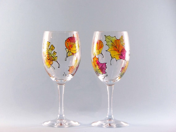 fall leaves wine glasses hand painted fall leaf wine glasses