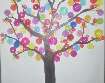 Button Art Tree Canvas Painted Panel art, Baby Nursery art, Kids Play room art, Classroom Art,