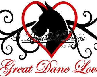 Great Dane Love Vinyl Decal From DaneArt Design With Cropped Ears - 2 Colors