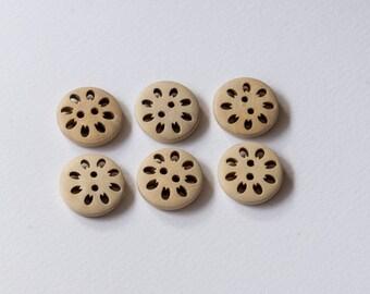 Natural wooden button