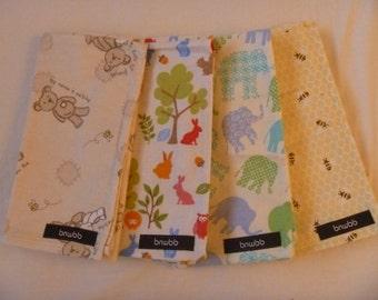Set of 4 Patterned Flannelette Dribble Cloths