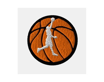 Basketball Player on Basketball Machine Embroidery Design - 2 sizes
