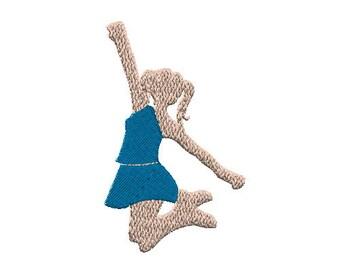 Jumping Cheerleader No Poms Machine Embroidery Design