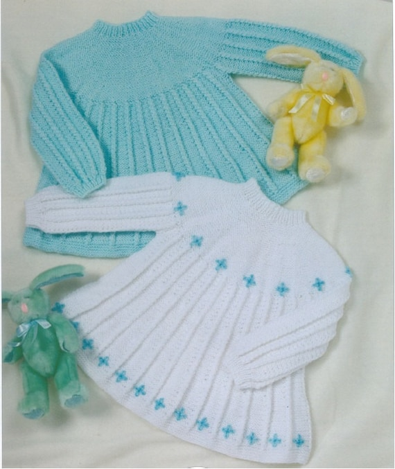 Knitting Pattern Baby Girl Pinafore : Items similar to BHKC 21 Vintage baby knitting pattern - Baby girl dresses DK...