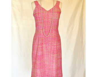 Fucshia and Lime 100% Silk Tweed Dress: Size 12