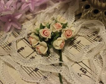 White Porcelain w/ Pink Ribbon Center Roses