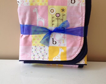 Baby Girl Crib Blanket Pink Blocks with Letters and Giraffes