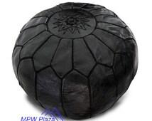 Black Moroccan Leather Pouf/Ottoman - Sold UN-STUFFED