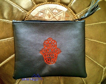 SALE-Medium Designer Moroccan Clutch with embroidered hand of Fatima and tassel