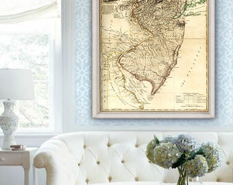 "Map of New Jersey 1778, Vintage New Jersey map in 4 sizes up to 36x48"" old map of New Jersey state, NJ poster - Limited Edition of 100"