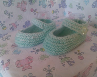 hand knitted mary-jane shoes