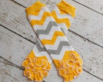 Yellow/White/Grey Chevron Leg Warmers with Ruffles, Leg Warmer, Girl Leggins, Wholesale Leg Warmers, One Size Leg Warmers