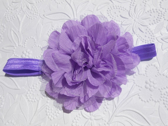 Lavender Frayed Lace Chiffon flower Baby Headband, Newborn Headband,  Infant Headband,Baby Headband, Headband Baby, Baby Headband