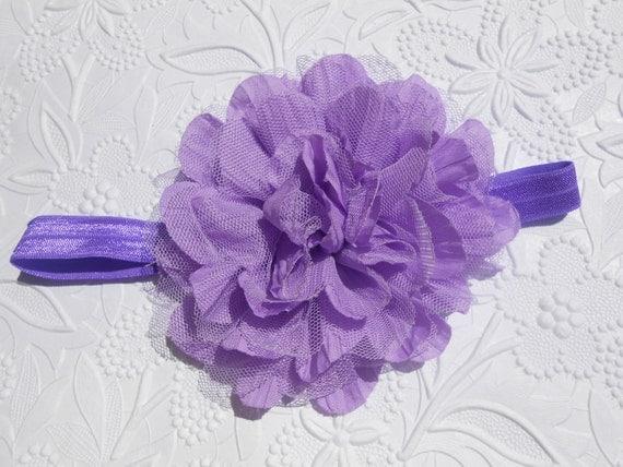 Lavender Frayed Lace Chiffon flower Baby Headband, Newborn Headband,  Infant Headband,Baby Headband, Headband Baby, Baby Headband