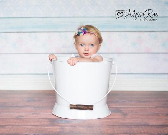 Rainbow Stripe Shabby  flower  Baby Headband, Newborn Headband,  Infant Headband,Baby Headband, Headband Baby