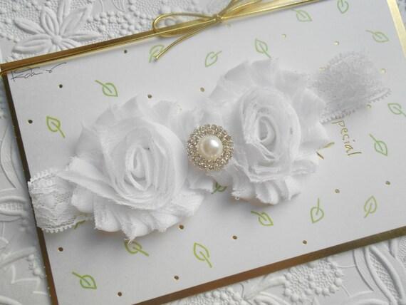 White Lace Shabby Flowers Baby Headband, Newborn Headband,  Infant Headband,Baby Headband, Headband Baby