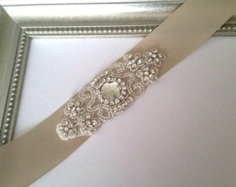 Rhinestone Bridal Belt, Champagne Bridal Belt, Bridal Sash, Wedding Sash. Satin Bridal Belt