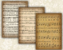 Vintage Music sheet Cards Digital Collage Sheet Printable 2.5x3.5 inch size Images Gift Tags Jewelry Holders Scrapbook ATC ACEO Cards