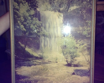 Beautiful Vintage Framed Hand Colored Waterfall Photograph