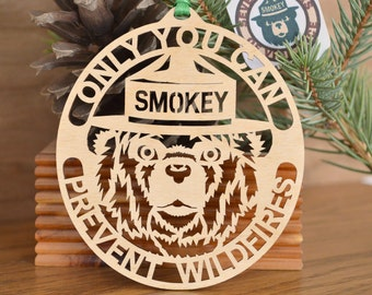 Smokey Bear ornament wood cut Smokey the Bear decoration: Only you can prevent Wildfires