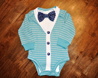 Preppy Baby Boy Cardigan, Onesie + Bow Tie  Set