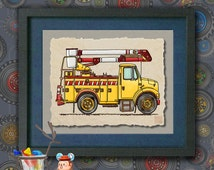 Kid Truck Art Cherry Picker Cute bucket truck Whimsical vehicle print adds to kids room transportation art as 8x10 or 13x19 wall decor