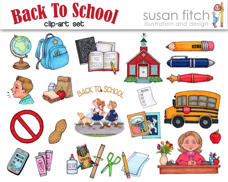 Back To School Clip Art Set by SusanFitchDesign on Etsy