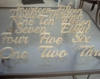 Script wedding table number set 1-15 free standing CNC cut super refind MDF