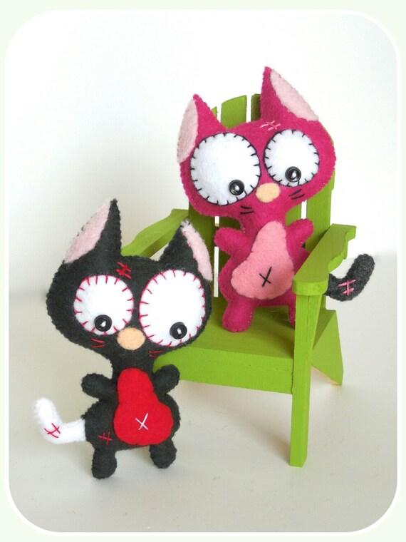 Mini Cat Pdf Sewing Patterns Cute Cat Toy Handmade Plush