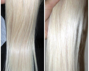 Russian European 8A Remy 60 Colour White Blonde Hair Extensions Clip In All Lengths